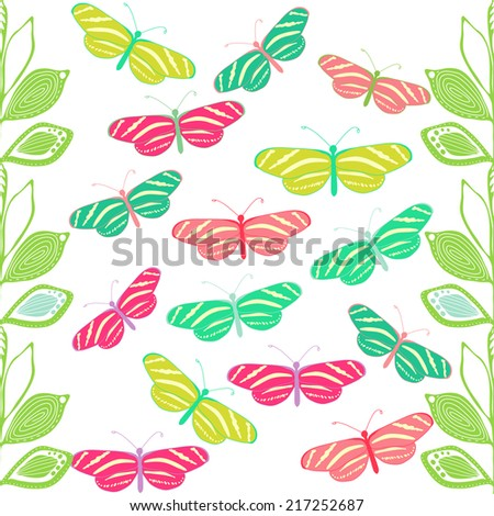 Bright cartoon seamless pattern with leaves and butterflies.