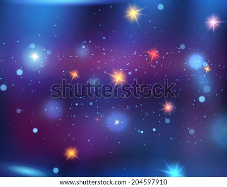 Bright cartoon space with stars - stock vector