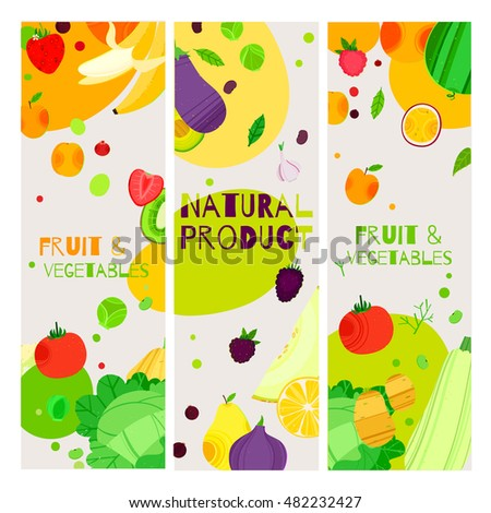 Bright cartoon style fruit and vegetable, vegetarian banner design. can be used for invitations, card, posters and other design