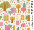 Bright cartoon urban seamless pattern. Cute houses and trees on bright background in vector. Seamless pattern can be used for wallpaper, pattern fills, web page background, surface textures. - stock vector