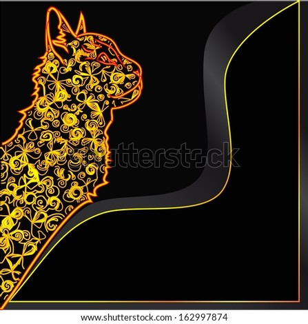 bright cat on a black background - stock vector