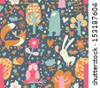 Bright childish seamless pattern with fox, bear, rabbit, owl, snail in trees and flowers. Seamless pattern can be used for wallpapers, pattern fills, web page backgrounds, surface textures. - stock vector