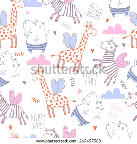 Bright childish seamless pattern with lion, tiger, zebra, hippopotamus, elephant.Great for children bedroom wallpaper  - stock vector