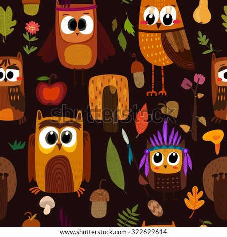 Bright childish seamless pattern with owls in trees and flowers. Seamless pattern can be used for wallpapers, pattern fills, web page backgrounds, surface textures. - stock vector