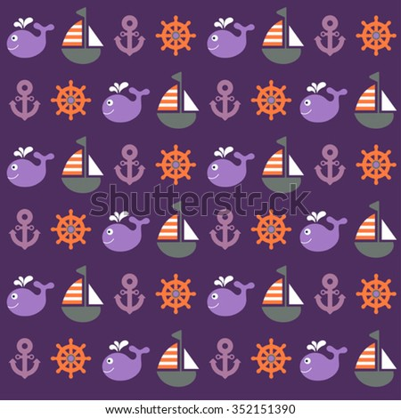 bright childish vector nautical seamless pattern
