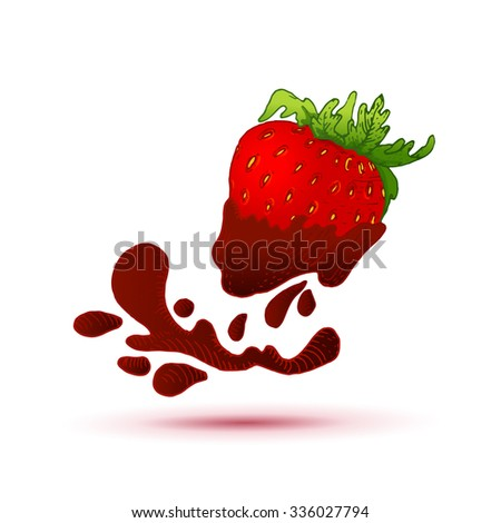 Bright chocolate covered ink drawn strawberry. Vector sweet food illustration.  Vintage style dessert.