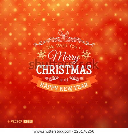 Bright  Christmas background. Festive congratulations on red background.  - stock vector