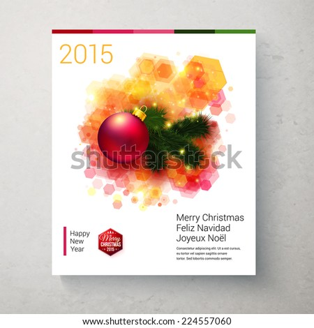 Bright Christmas card with realistic decoration and geometrical element. Vector illustration.  - stock vector