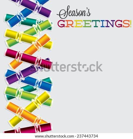 Bright Christmas cracker card in vector format. - stock vector