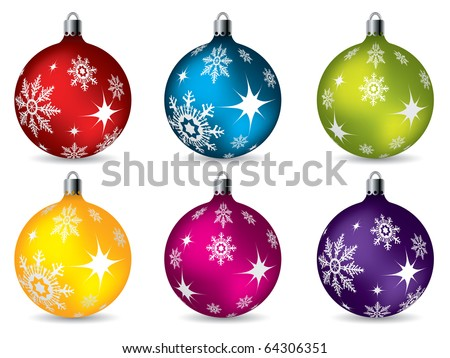 Bright christmas decorations - stock vector
