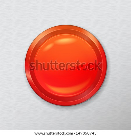 bright chrome realistic red button interface on a metal background