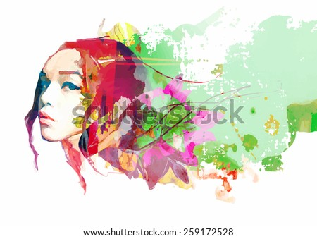 Bright color composition with female face and flowers - stock vector