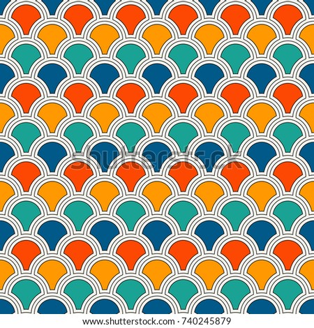Bright Color Fish Scale Wallpaper Asian Traditional Ornament With Repeated Scallops Seamless Surface Pattern