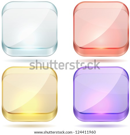 Bright color glass rounded square buttons vector set isolated on white background. - stock vector