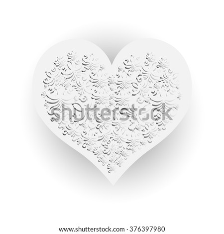 Bright color vector graphic illustration of Valentine day holiday with love symbol of one beautiful white heart shape on light shade background - stock vector