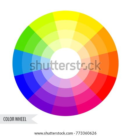 Bright Color Wheel Chart Isolated On Stock Vector
