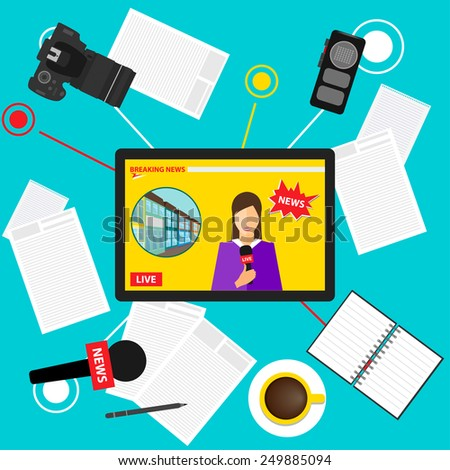 bright colored conceptual illustration in a trendy flat style on the theme of breaking news with set of tablet with an on-line broadcast of the event from the Internet, microphone, camera and recorder - stock vector