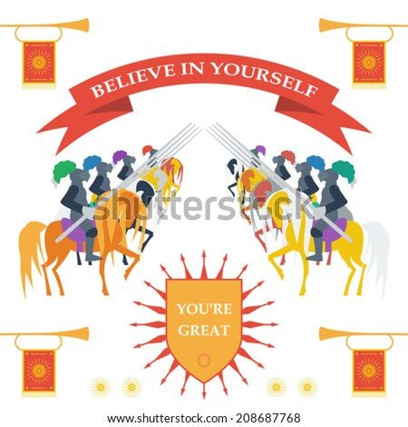 Bright colored illustration in trendy flat style  with brave knights on the horses with motivation slogan for use in design for card, invitation, poster, banner, placard or billboard cover - stock vector