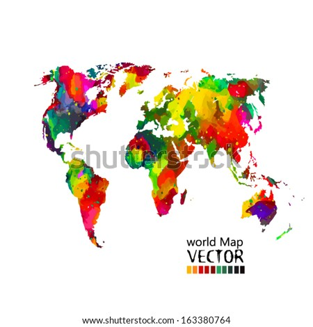 bright colored map of the world on a white background. Vector - stock vector
