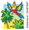 Bright colored parrot flying among the palm trees, cartoon vector illustration - stock vector