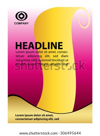 Bright colored pink and yellow editable vector brochure template design  - stock vector
