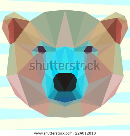 Bright colored polygonal white bear background - stock vector