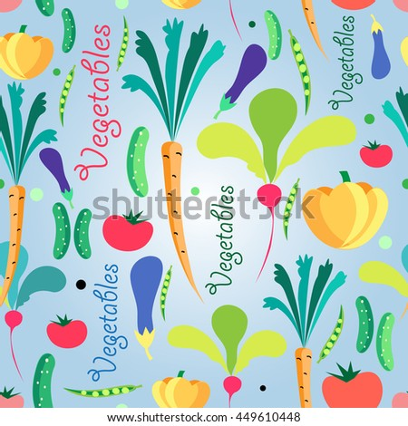 Bright colored seamless pattern vegetables. Vector illustration of a template for the design - stock vector
