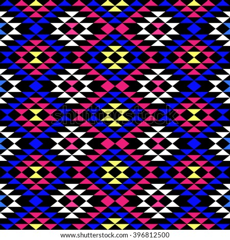 Bright colored seamless pattern with ethnic aztec ornament. Abstract wallpaper in boho chic style.