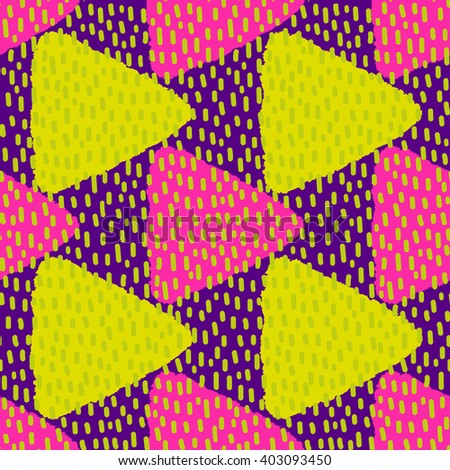 Bright colored seamless pattern with grungy triangles and strokes. Vector illustration - stock vector