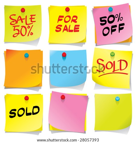 Bright colored sticky notes - stock vector