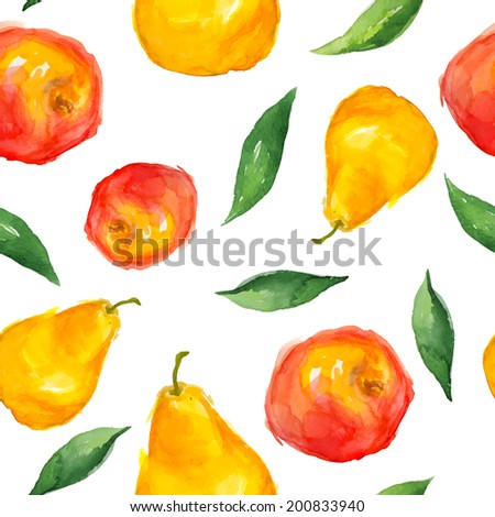 bright colored watercolor fruit seamless pattern in a summer style - apples, pears and leaves on a white background (isolated) - stock vector