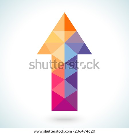 Bright colorful arrow shape in modern polygonal crystal style on white background. Vector illustration for holiday patriotic design. For party poster, greeting card, banner or invitation. - stock vector