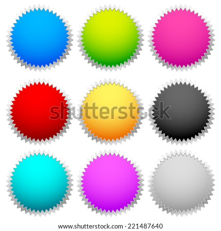 Bright, colorful badge set