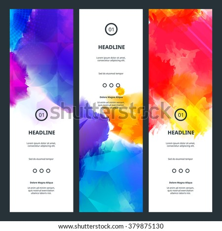 Bright Colorful Banners with Watercolor Splashes. Abstract Holi Paint Texture. Rainbow Colored Banner Design. - stock vector