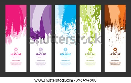 Bright Colorful Banners with Watercolor Splashes. Abstract Paint Texture. Rainbow Colored Banner Design. - stock vector