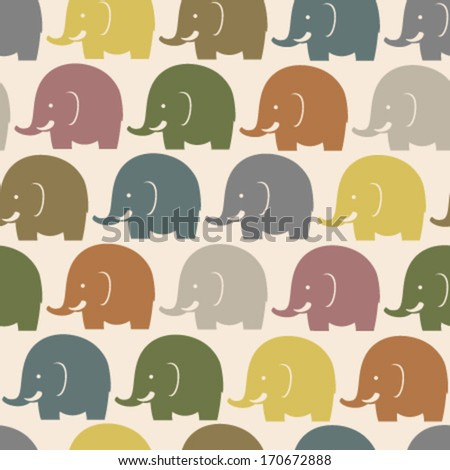 bright colorful elephant seamless pattern - stock vector