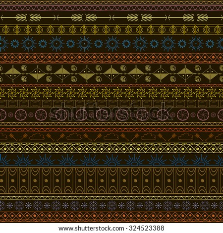 bright colorful ethnic pattern with horizontal stripes in the art doodle, done by hand