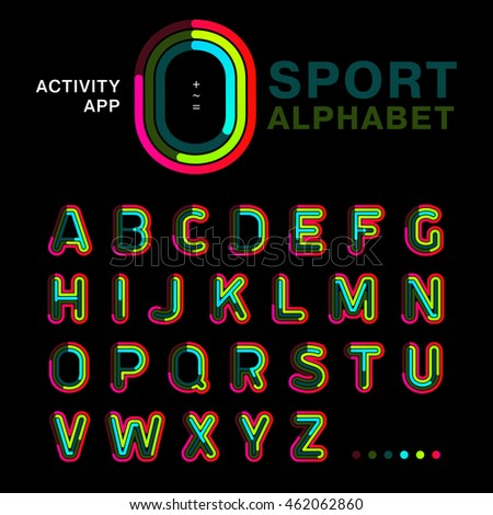 Bright colorful font line written symmetrically on a black background. Modern concept alphabet to be used for an app activity, interface and sports. Sample of vector illustration.