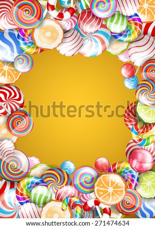 Bright colorful frame with candies, sweets and lollipops . Vector background - stock vector