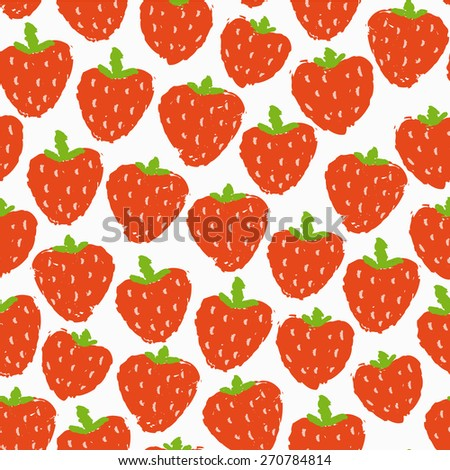 bright colorful hand drawn strawberry seamless pattern - stock vector