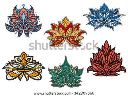 Bright colorful indian stylized paisley flowers, adorned by ethnic ornaments with flourishes, wavy lines and tendrils, for fabric or carpet pattern design - stock vector