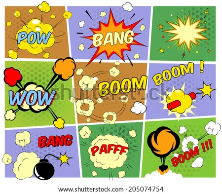 Bright colorful mock-ups of comic book speech bubbles depicting a variety of sounds  explosions  bang  pfaff  pow  wow  boom  with motion puffs and star bursts and a burning bomb and dynamite - stock vector