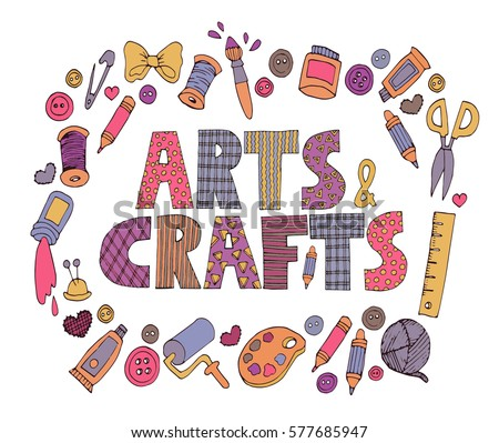 Bright Colorful Patchwork Arts And Crafts Text With Set Of Doodle