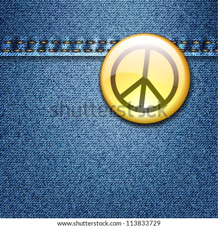 Bright Colorful Peace Badge on Denim Fabric Texture Jacket