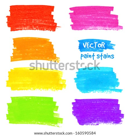 Bright colorful rainbow colors vector marker stains - stock vector