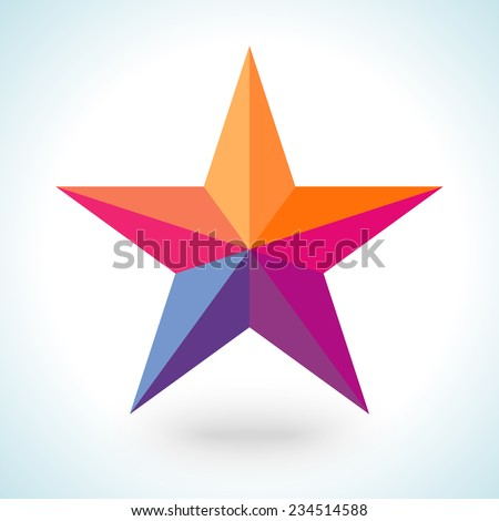 Bright colorful star shape in modern polygonal crystal style on white background. Vector illustration for holiday patriotic design. For party poster, greeting card, banner or invitation. - stock vector