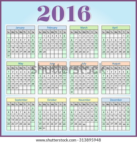 Bright, colorful, vector calendar for 2016