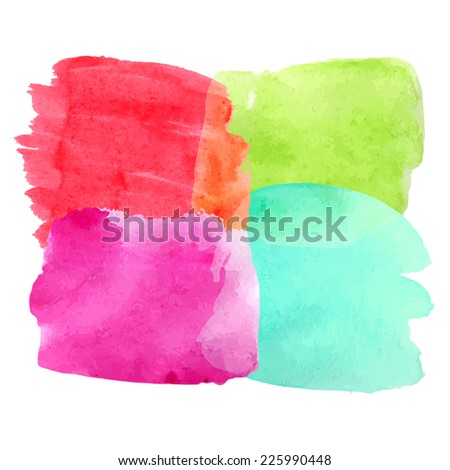 Bright colorful watercolor shapes in one background. Vector illustration. - stock vector