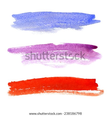 Bright colorful watercolor stripes for text. Rainbow design elements. Vector illustration. - stock vector