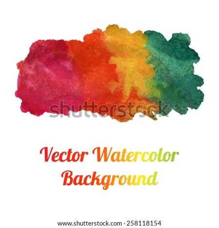 Bright colorful watercolor vector banner. Abstract background for card design. Watercolor element. EPS10 vector backdrop. Isolated on white. - stock vector